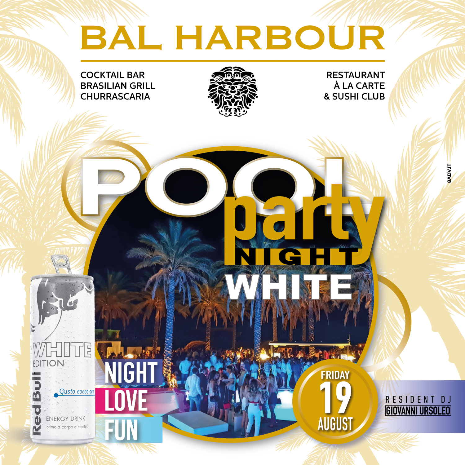 white pool party night bal harbour san teodoro summer sardegna red bull