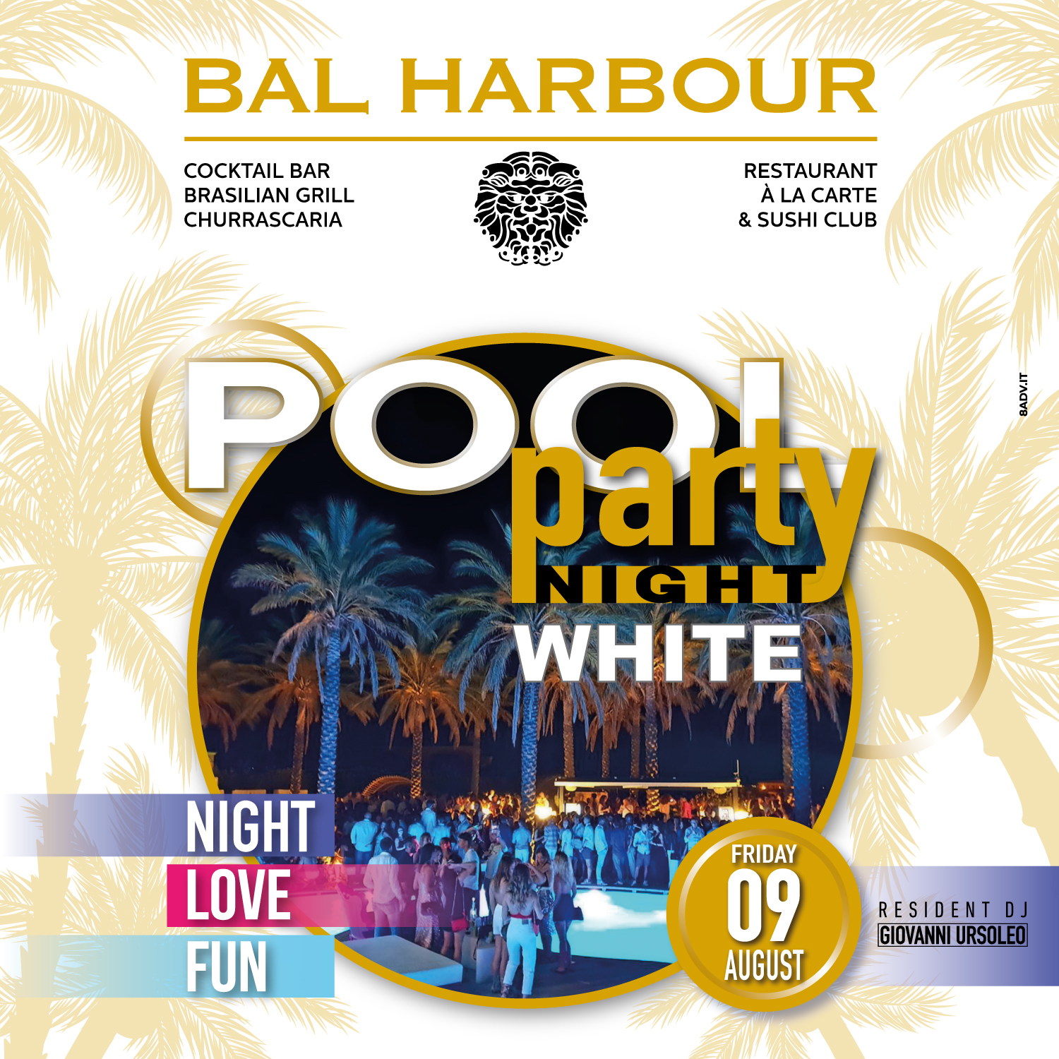 white pool party night bal harbour san teodoro summer sardegna