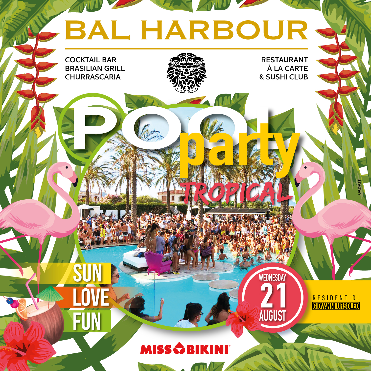 tropical pool party bal harbour san teodoro summer sardegna