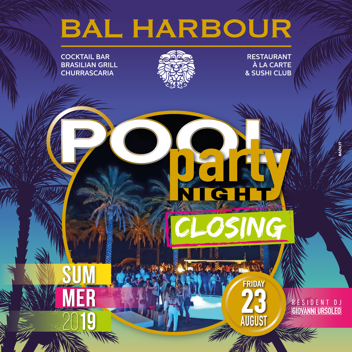 pool party night closing bar harbour san teodoro summer