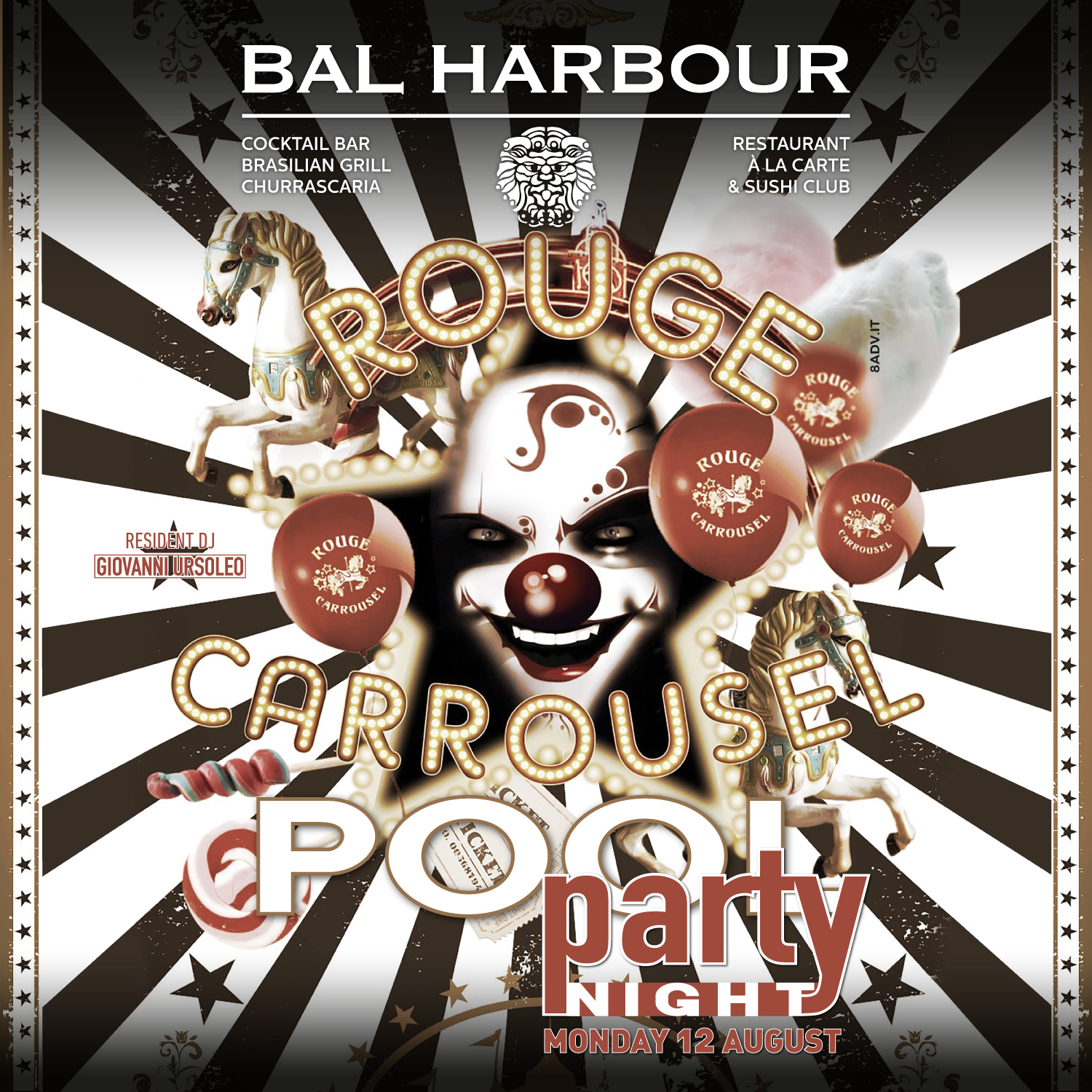 rouge carrousel pool party bal harbour san teodoro